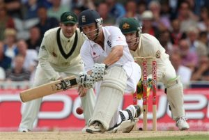 England's Jonathan Trott plays a sweep off the bowling of Australia's Marcus North the third day of the fifth cricket test match between England and Australia at The Oval cricket ground in London, Saturday, Aug. 22, 2009. (AP Photo/ Tom Hevezi)